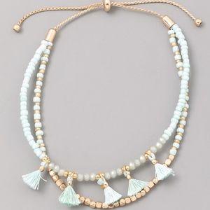 Jewelry - Beaded Tassel Bracelet in Mint